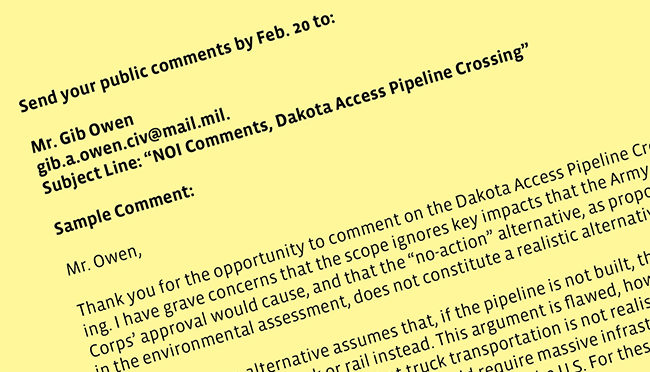 DAPL Public Comment Now Open – until Feb 20